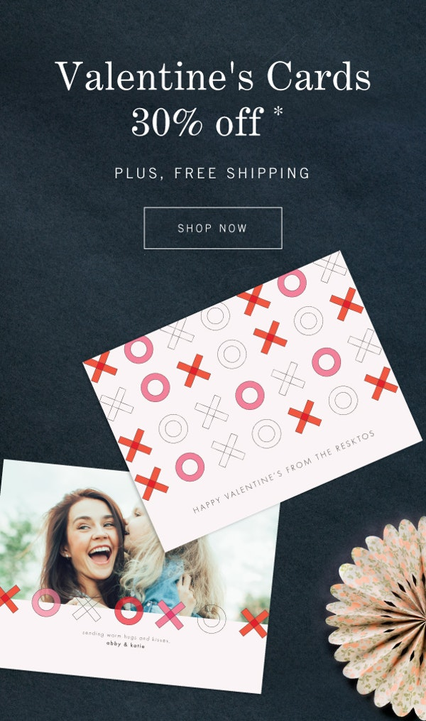 30% off Valentine's Day plus free shipping
